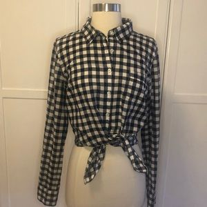 J Crew Gingham Button Up 100% Cotton